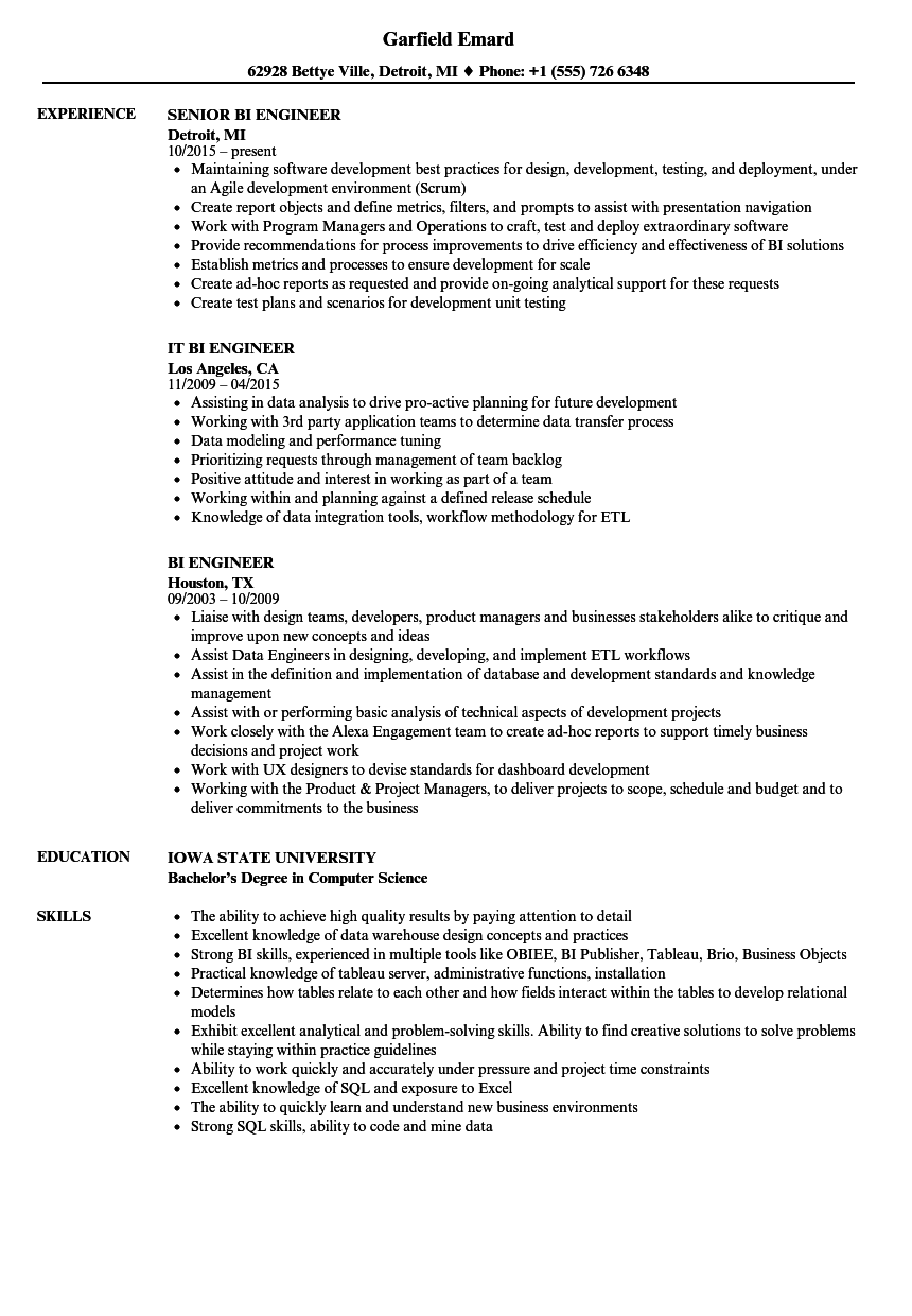 bi engineer resume samples