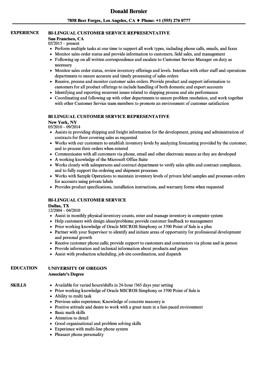 Download Bi Lingual Customer Service Resume Sample As Image File