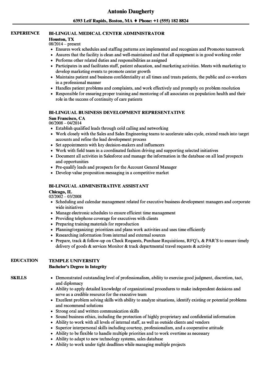 Bi-lingual Resume Samples | Velvet Jobs