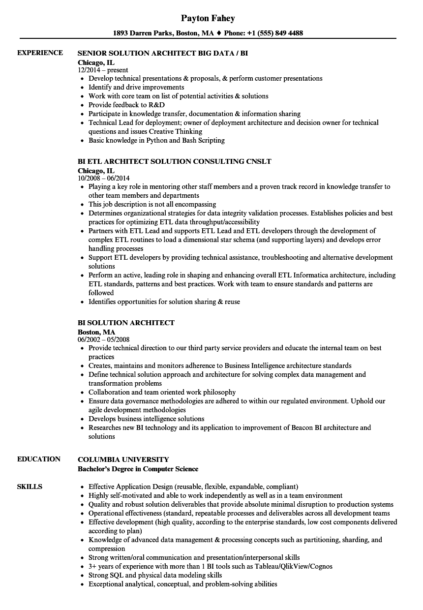 BI Solution Architect Resume Samples | Velvet Jobs