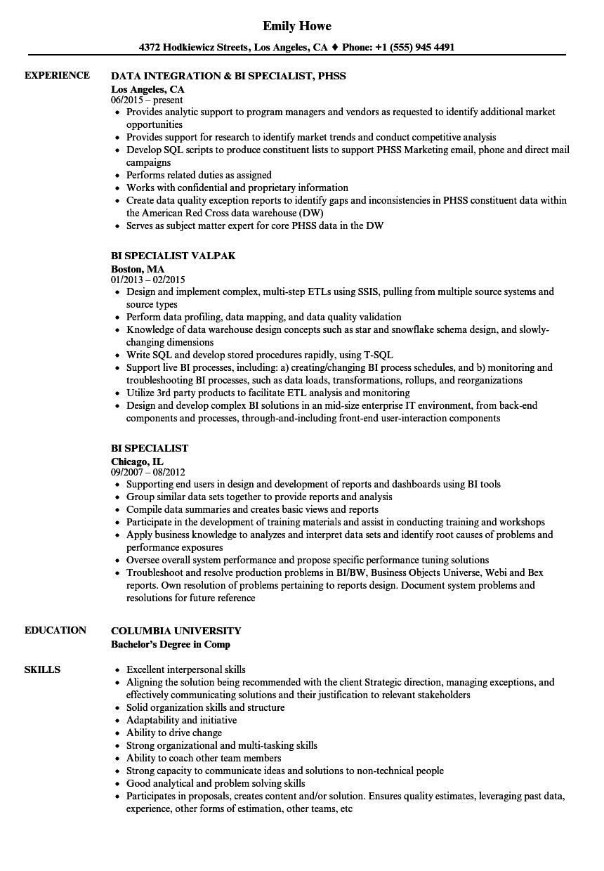 bi specialist resume samples
