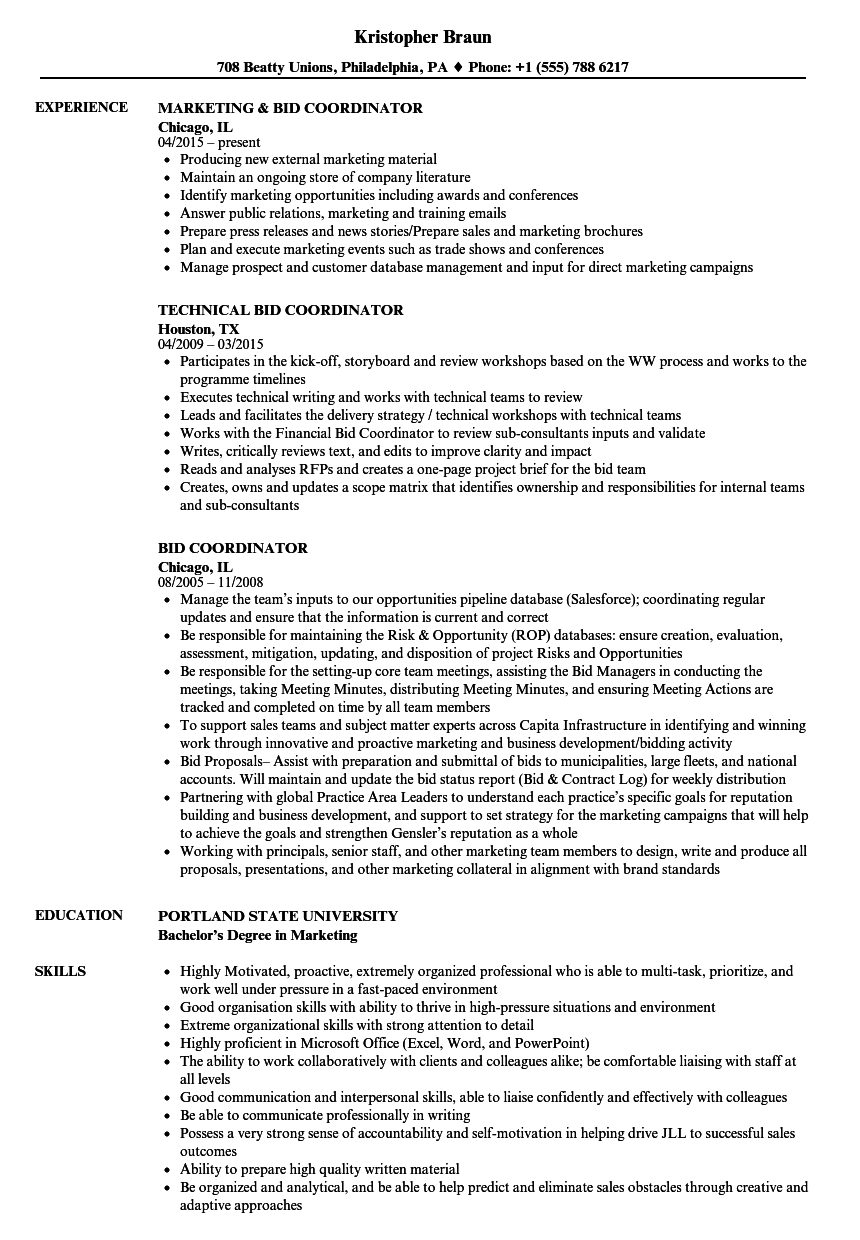 Bid Coordinator Resume Samples | Velvet Jobs