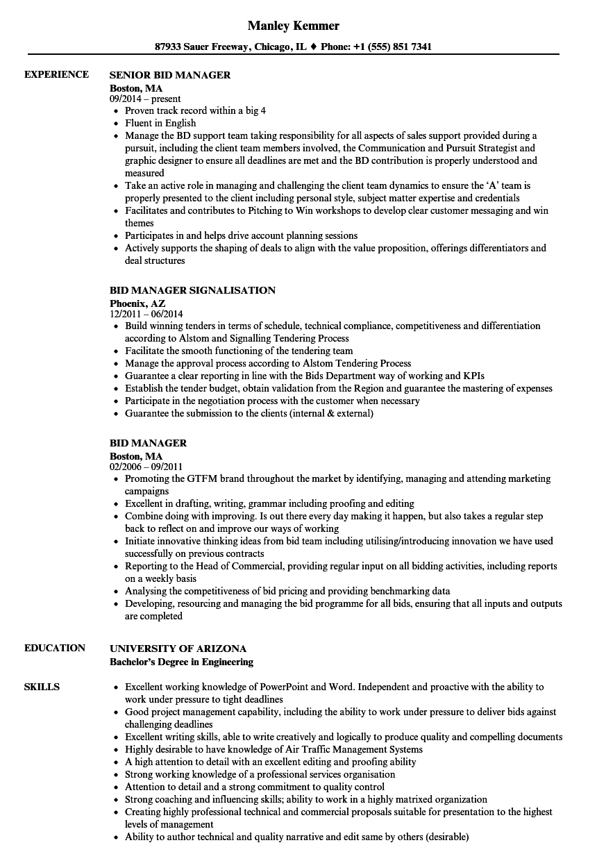 Bid Manager Resume Samples | Velvet Jobs