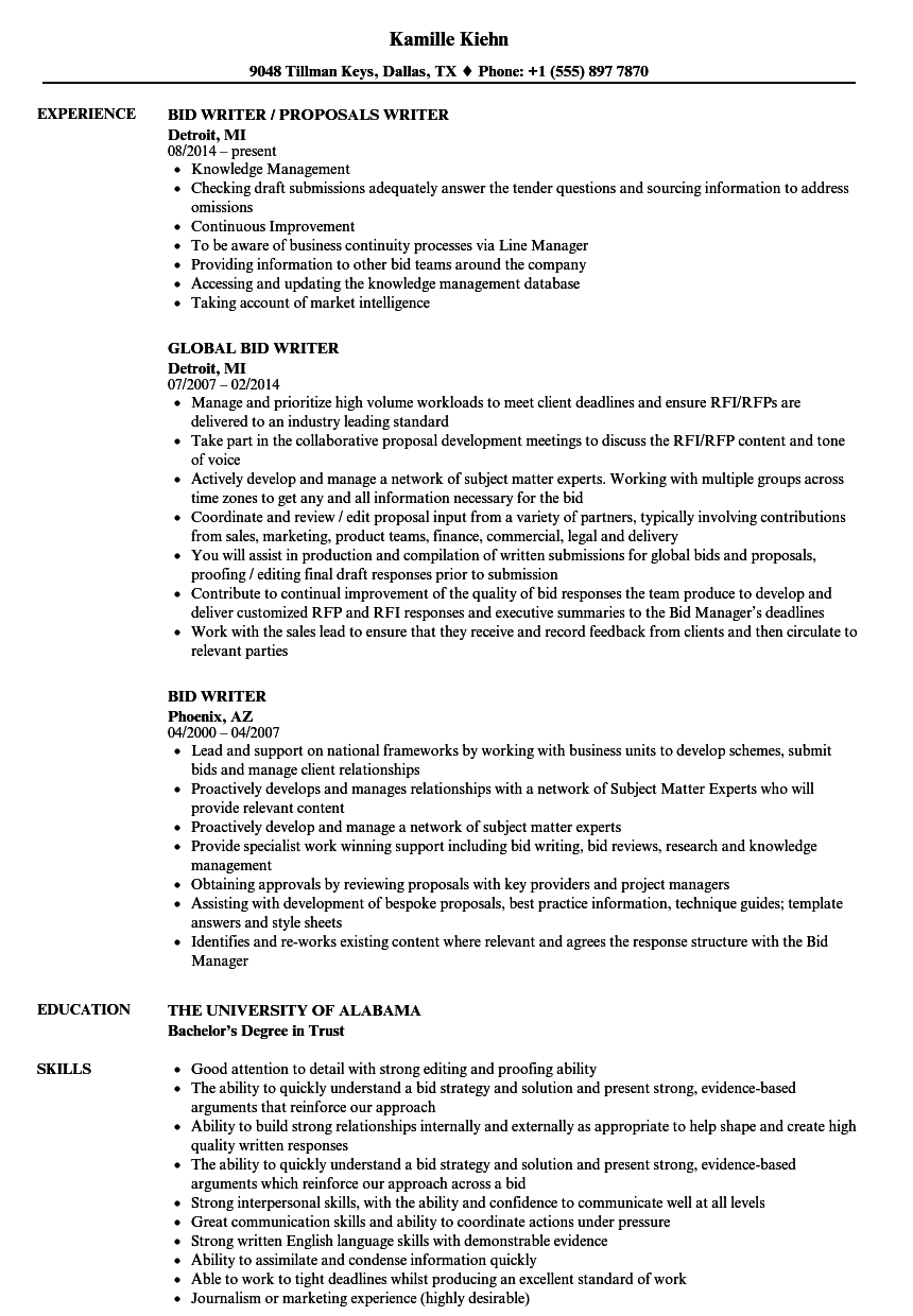 Bid Writer Resume Samples | Velvet Jobs