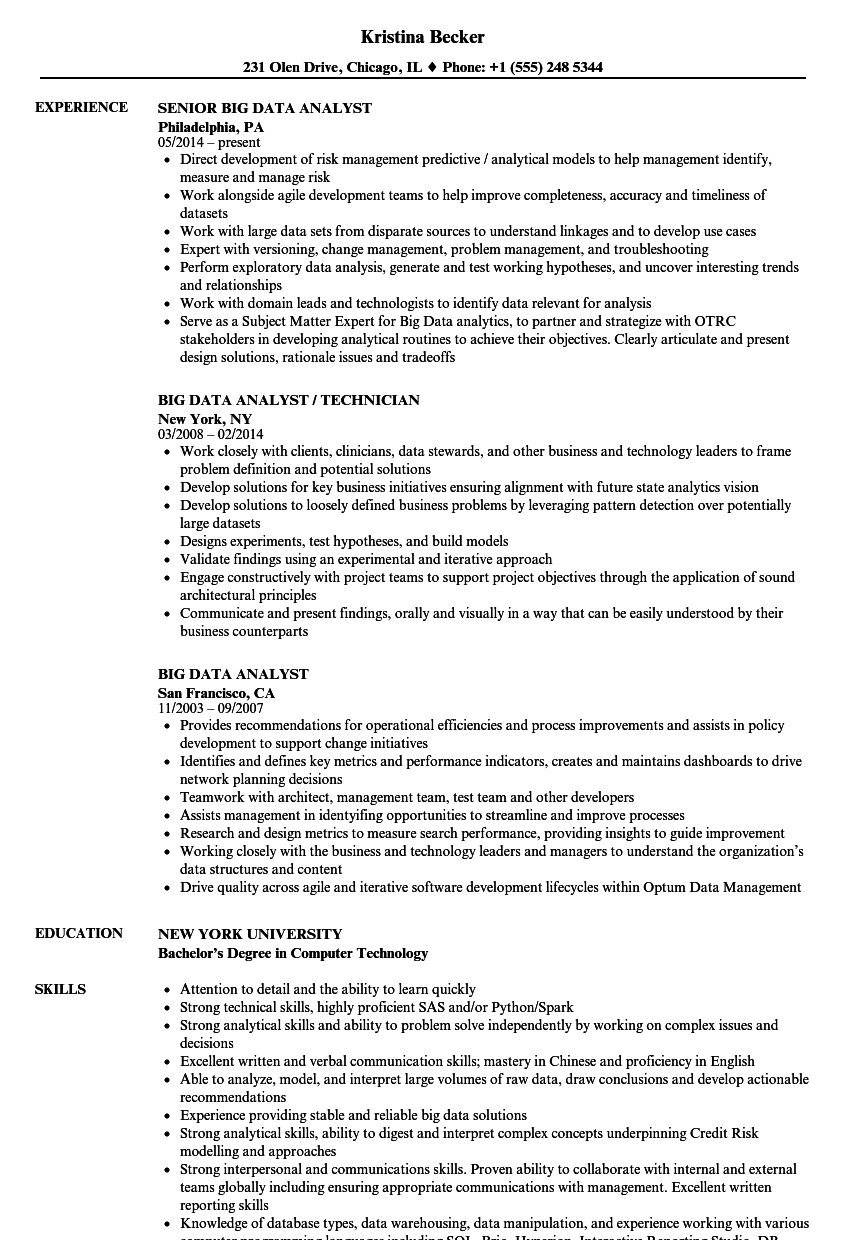 big data analyst resume samples velvet jobs