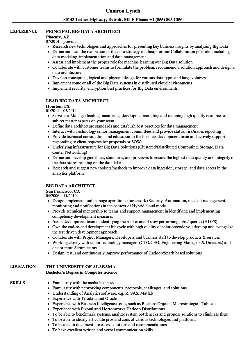 Big Data Architect Resume Samples | Velvet Jobs