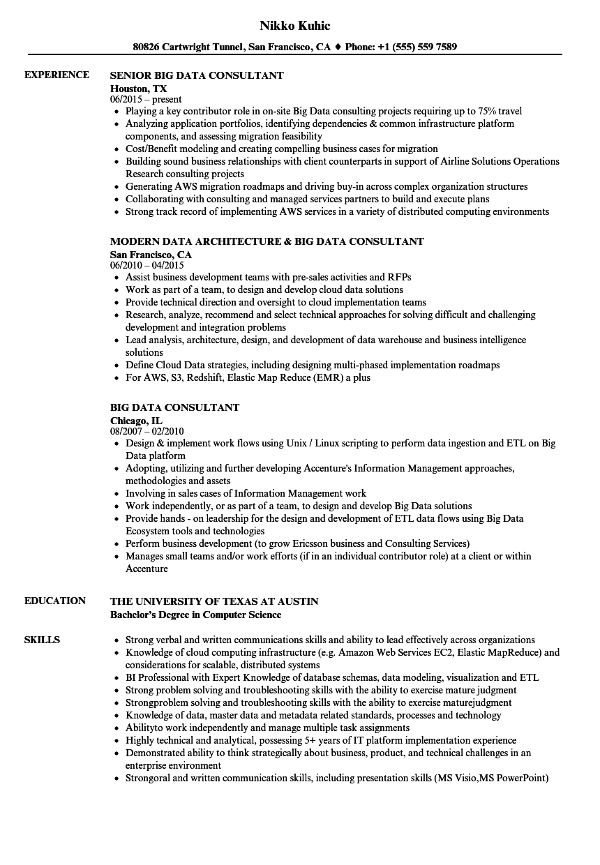 Big Data Consultant Resume Samples Velvet Jobs