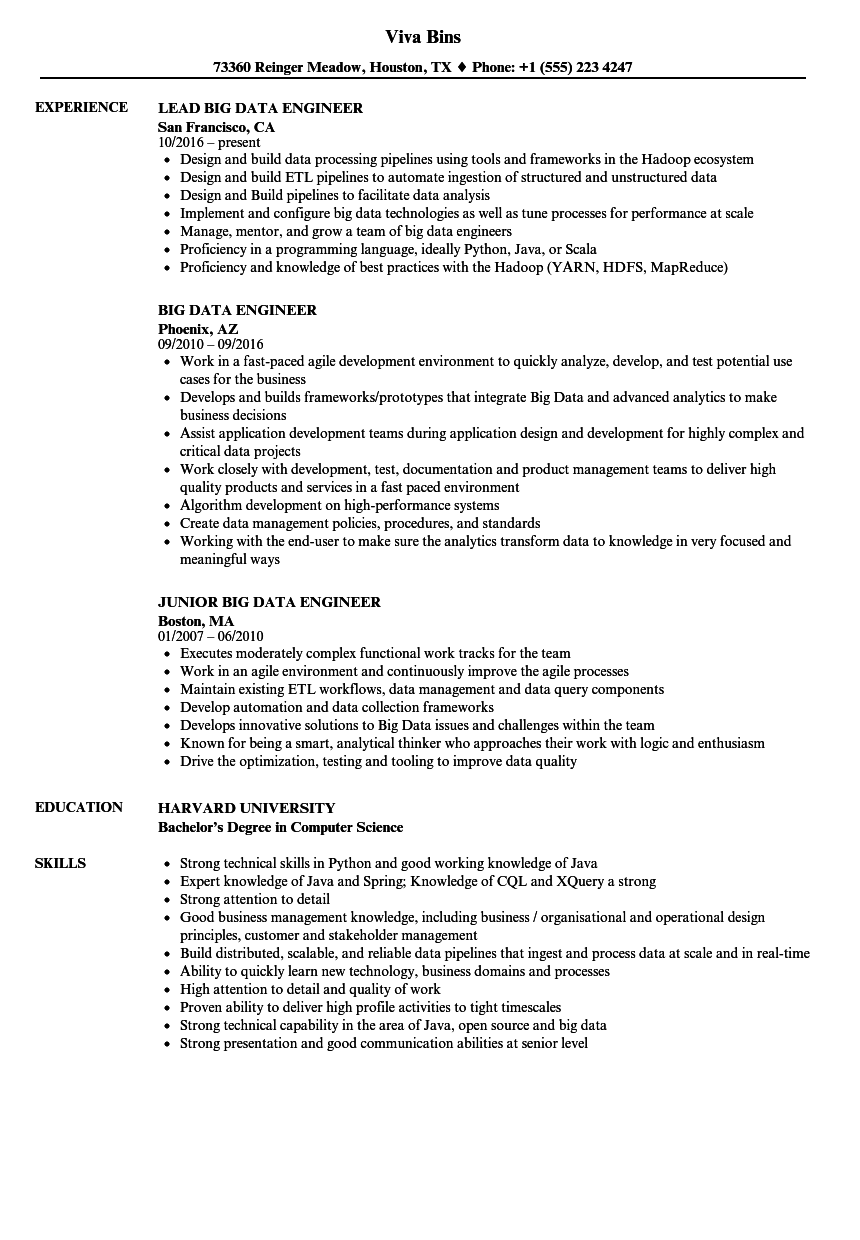 big data engineer resume samples
