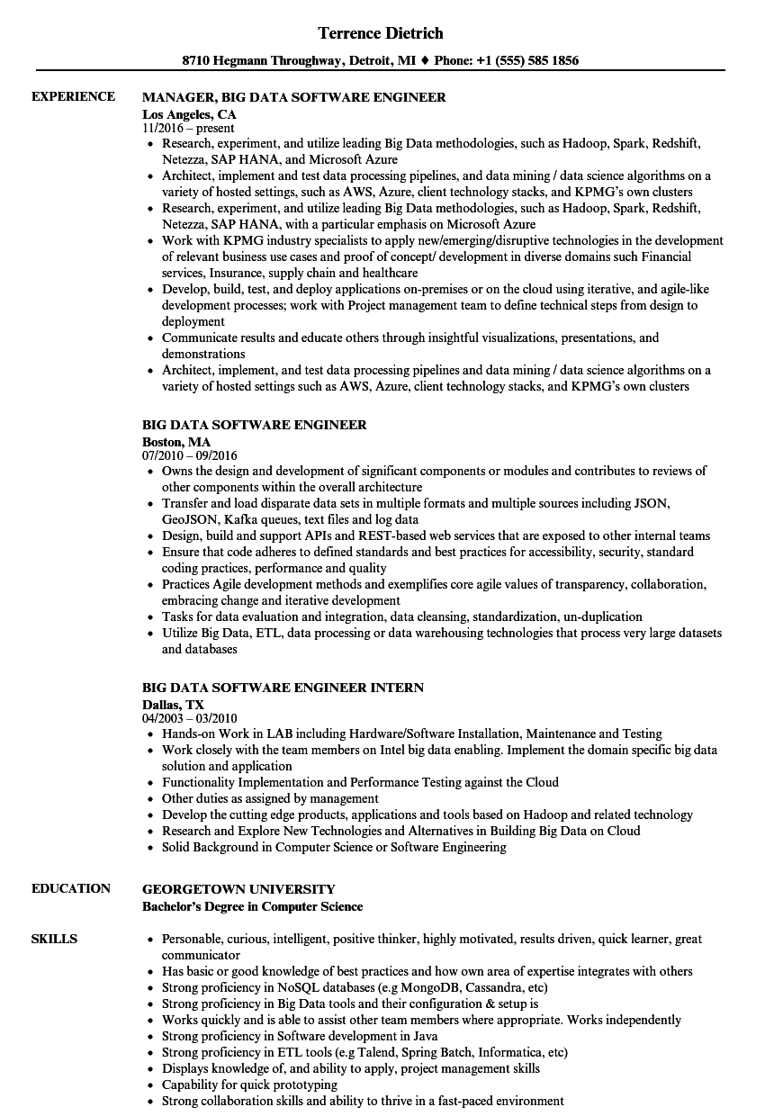 big data software engineer resume samples