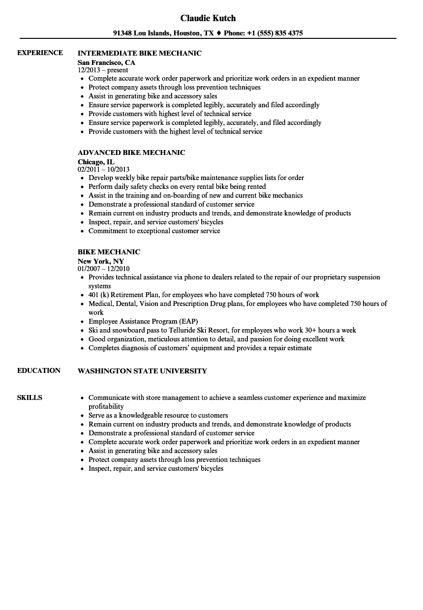 Bike Mechanic Resume Samples | Velvet Jobs