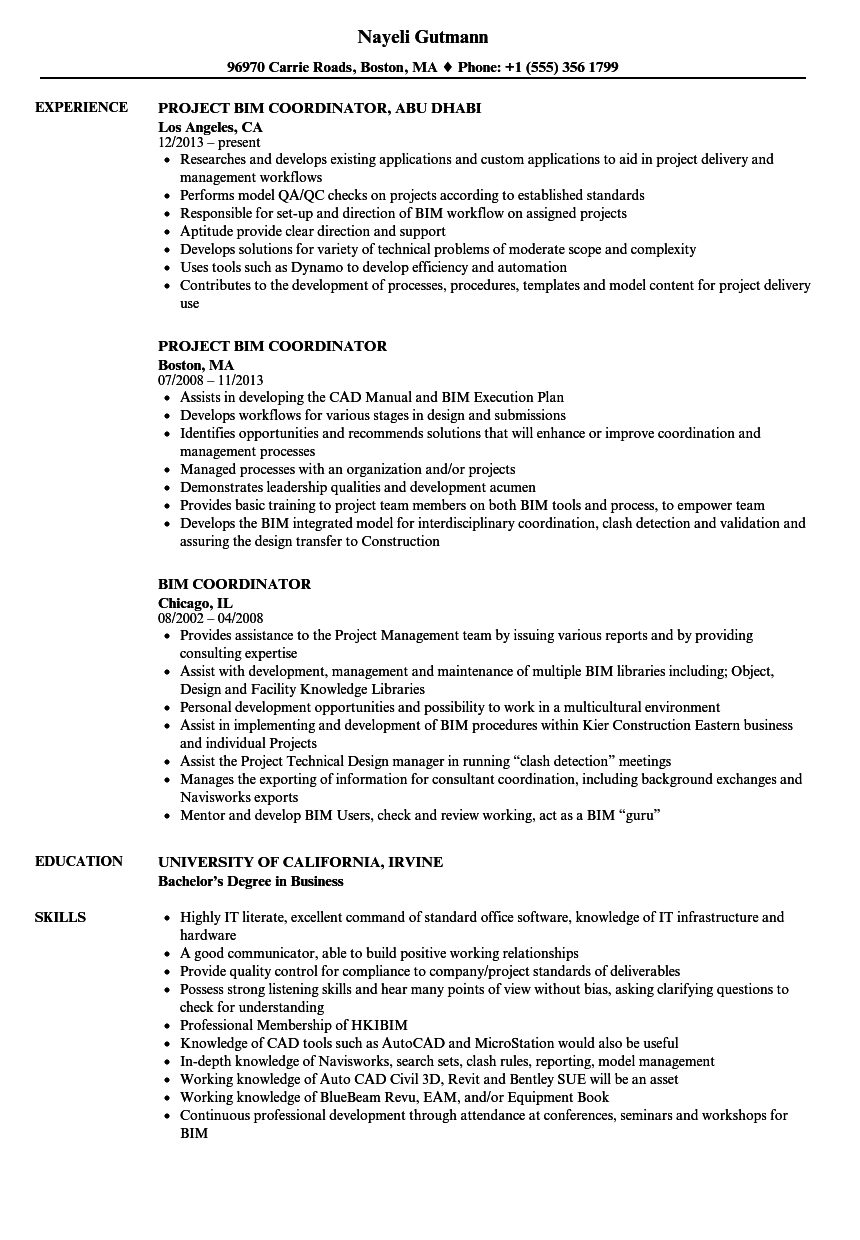 BIM Coordinator Resume Samples | Velvet Jobs