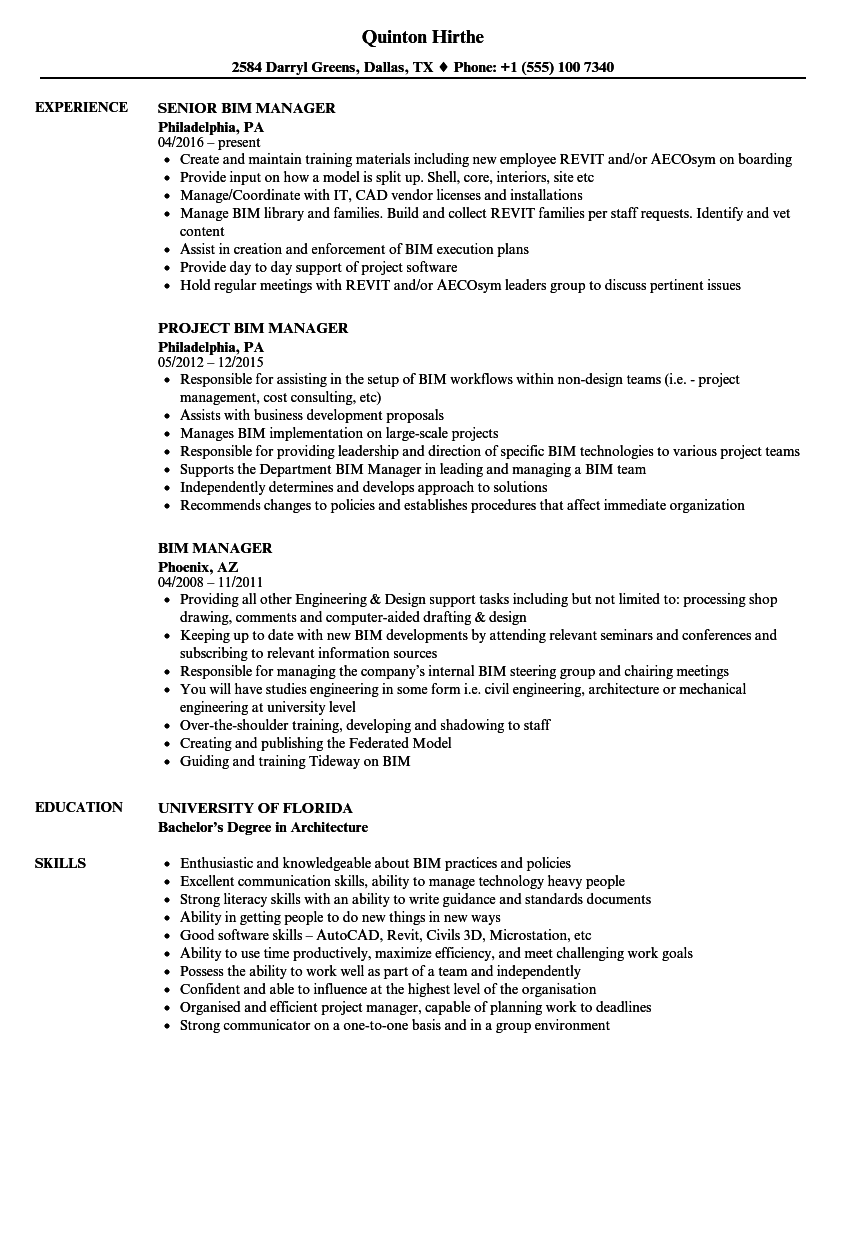 BIM Manager Resume Samples | Velvet Jobs
