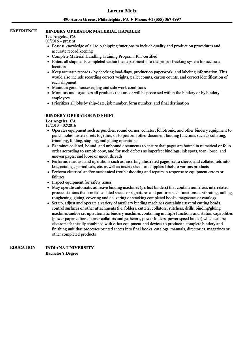 bindery operator resume samples