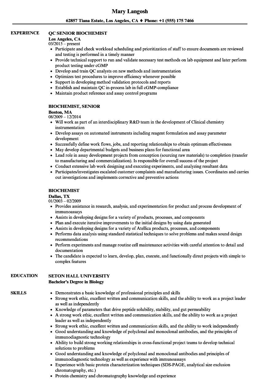 Biochemist Resume Samples | Velvet Jobs