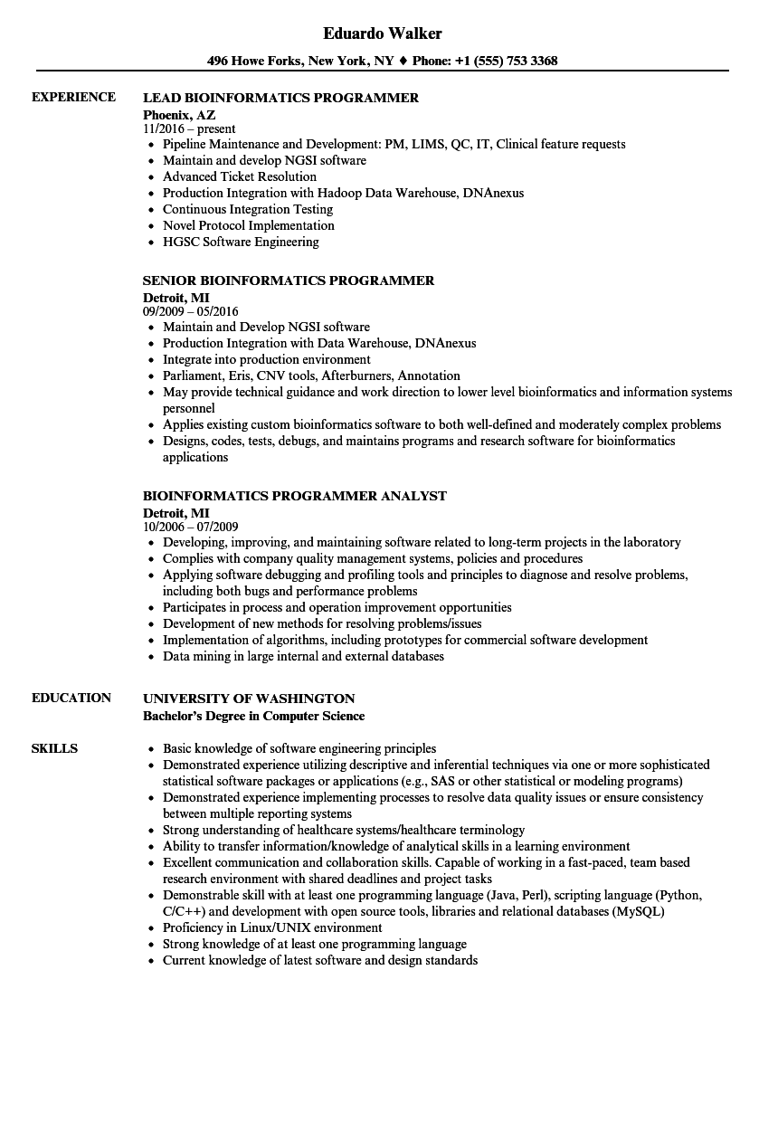 Bioinformatics Programmer Resume Samples | Velvet Jobs