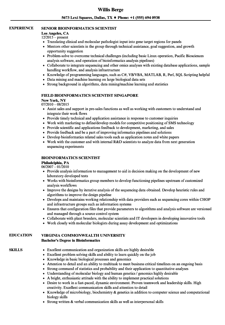 bioinformatics-scientist-resume-sample Objectives On Bioinformatics Scientist Resume on