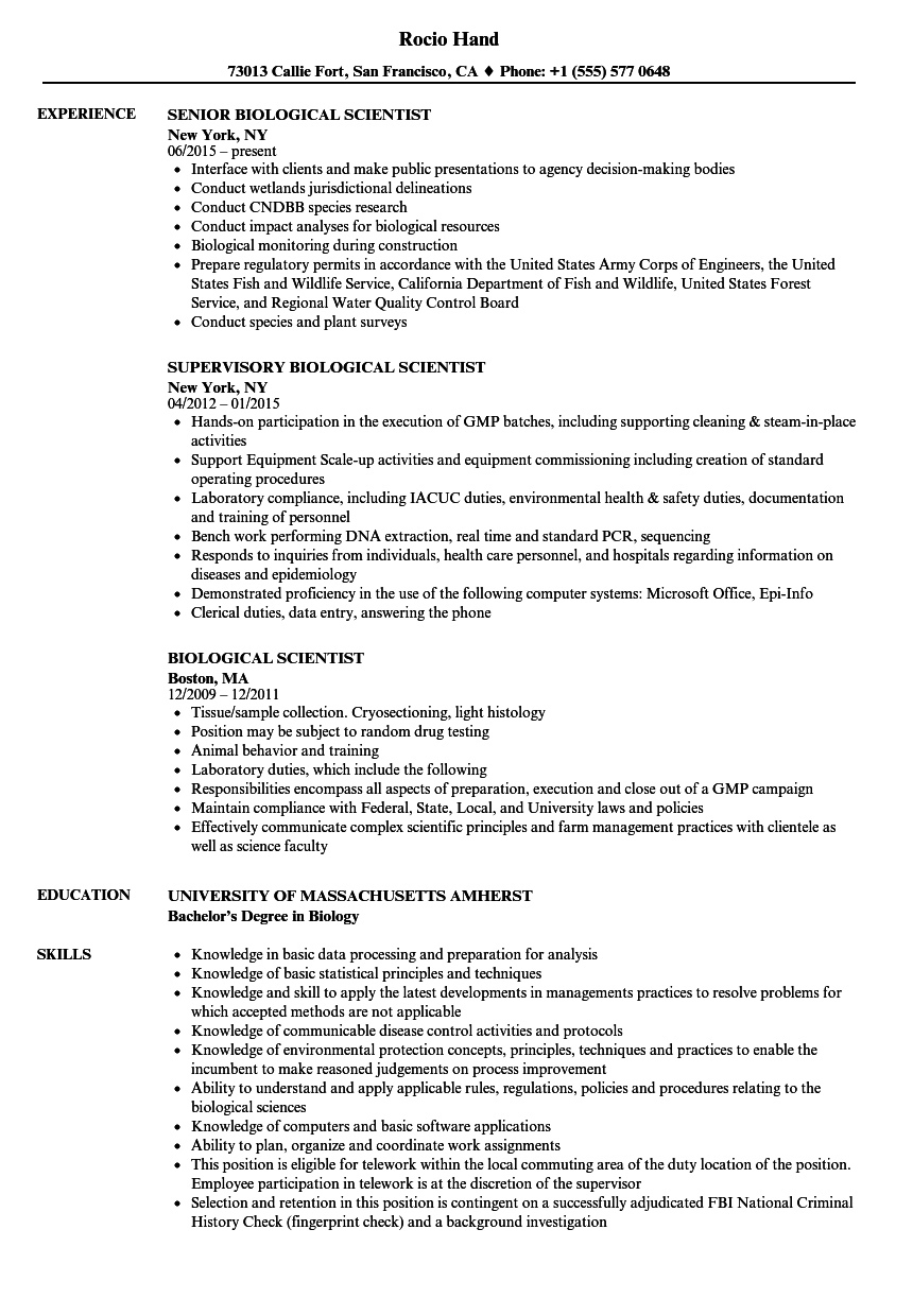 biological scientist resume samples