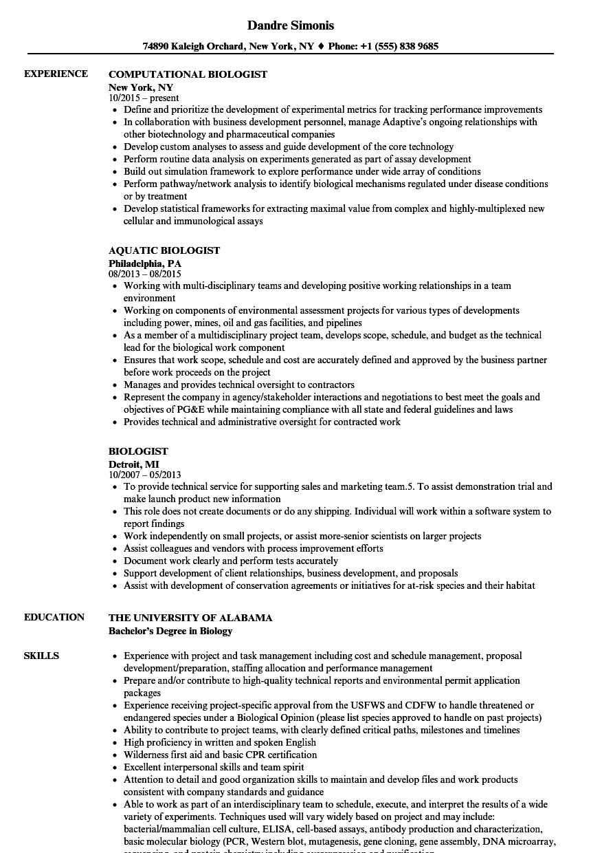 Biologist Resume Samples Velvet Jobs
