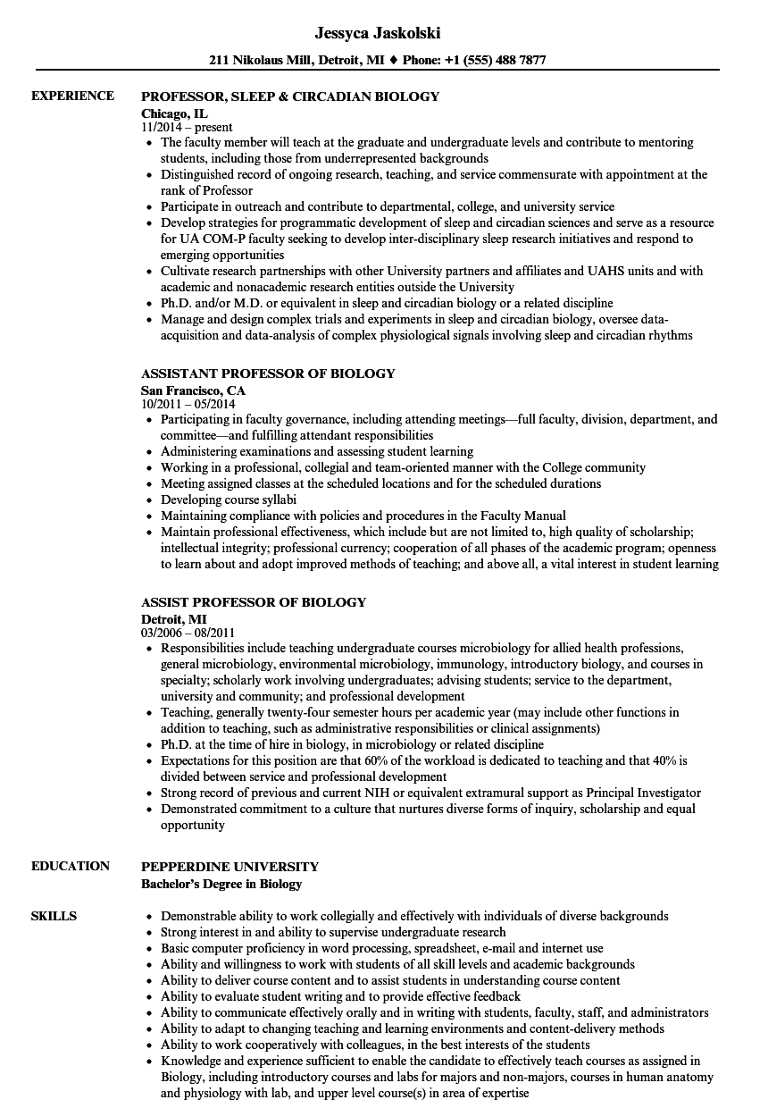 biology professor resume samples