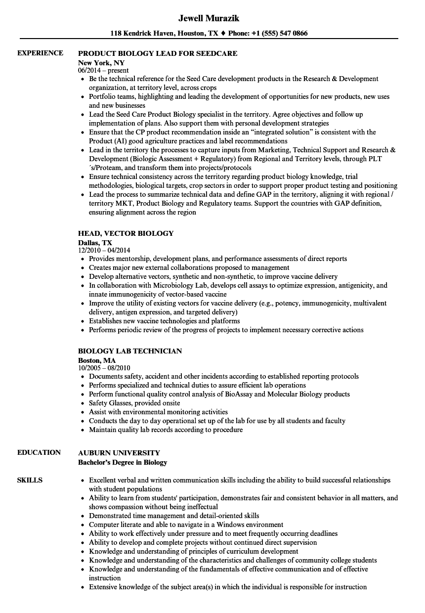 Biology Resume Samples | Velvet Jobs