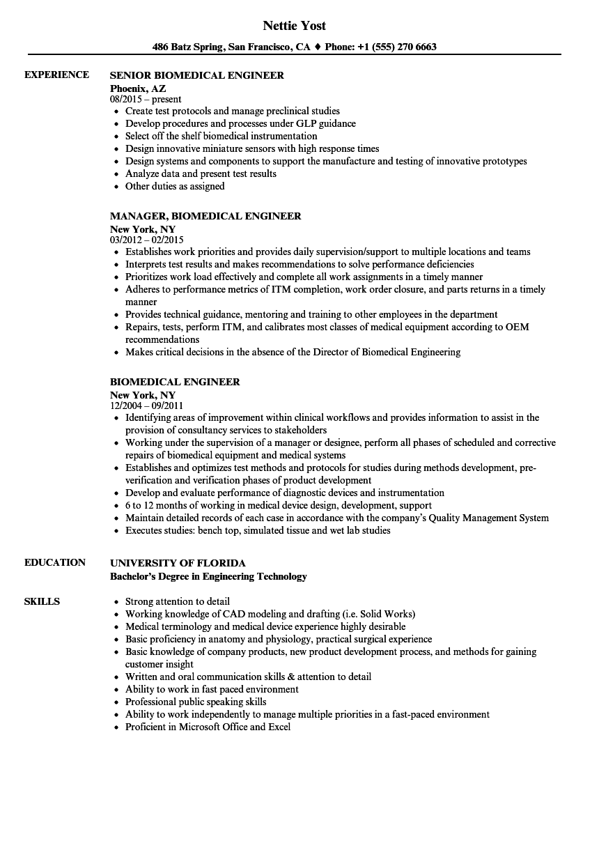 biomedical engineer resume samples