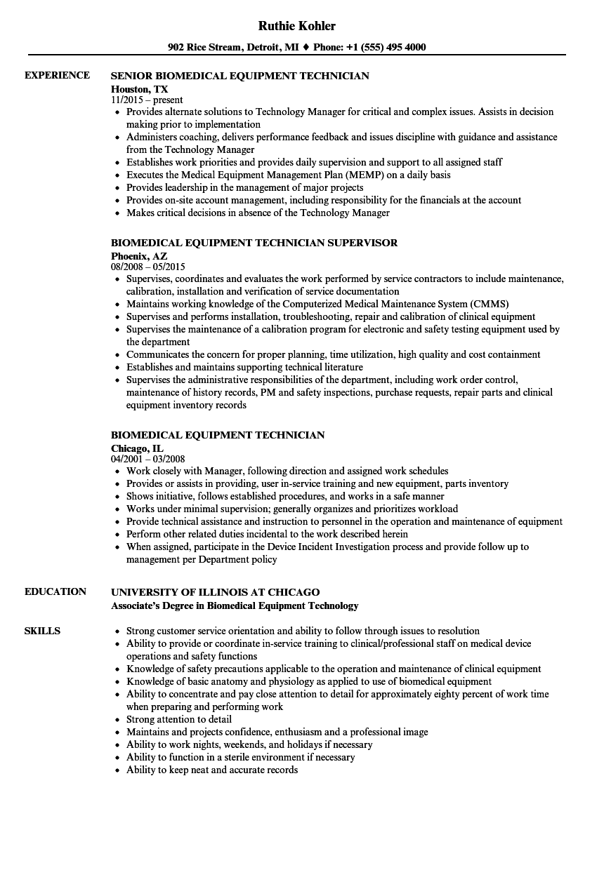 biomedical equipment technician resume samples