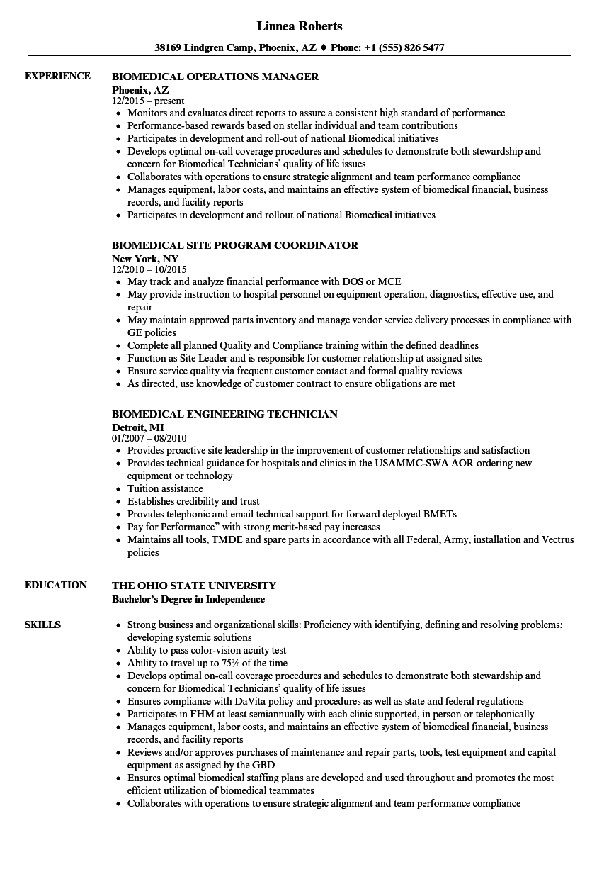 Biomedical Resume Samples | Velvet Jobs
