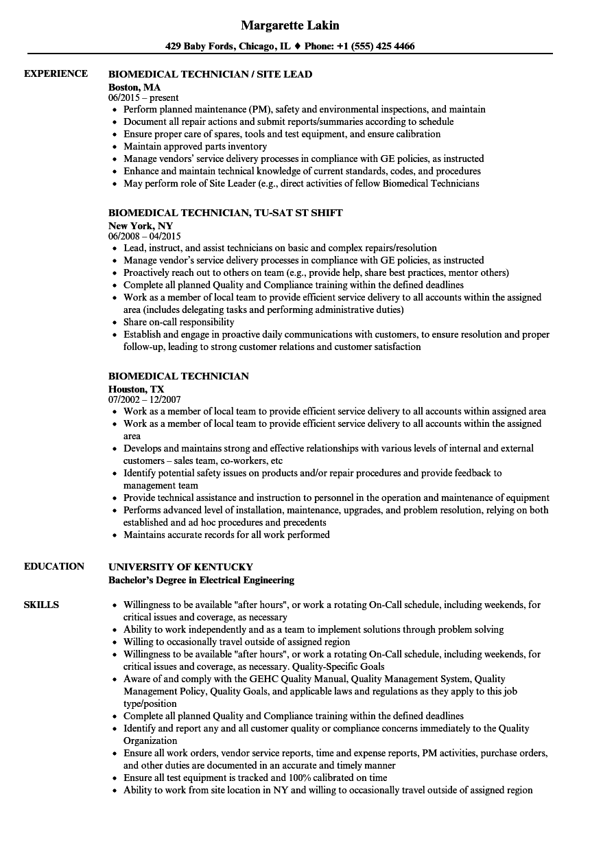 biomedical technician resume samples