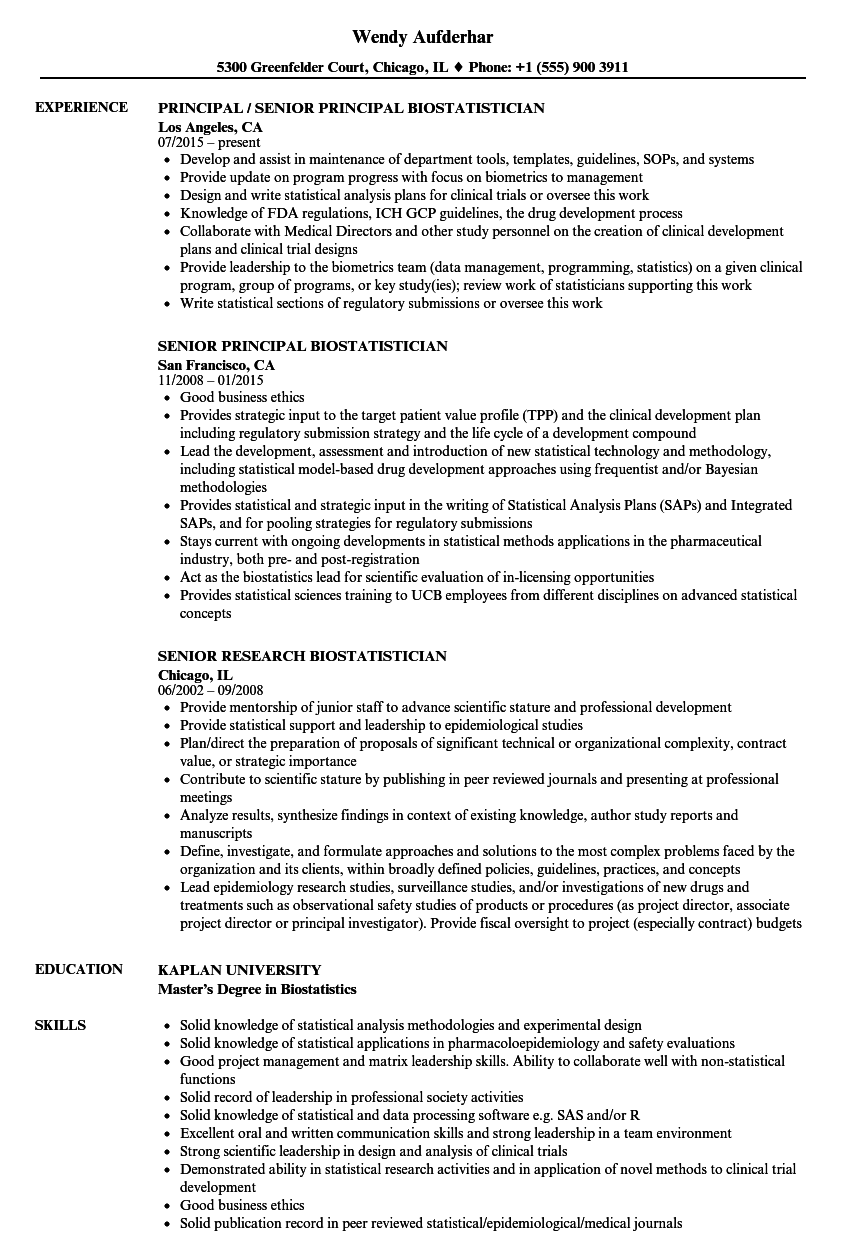 biostatistician senior resume samples