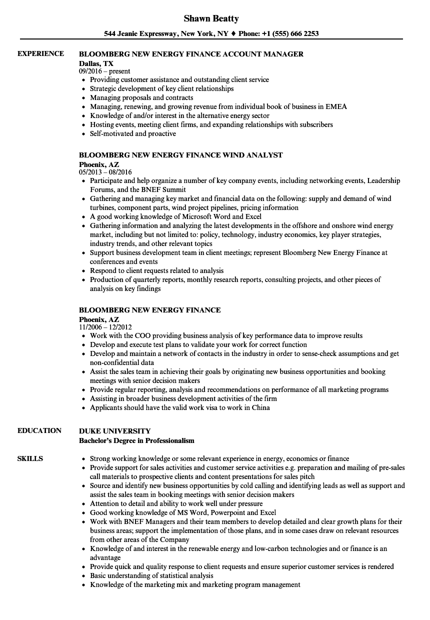Bloomberg New Energy Finance Resume Samples | Velvet Jobs