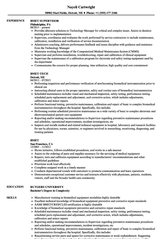 Bmet Resume Samples Velvet Jobs