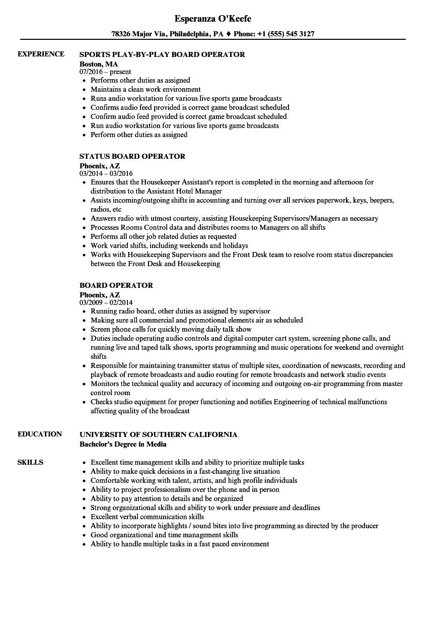 board operator resume samples