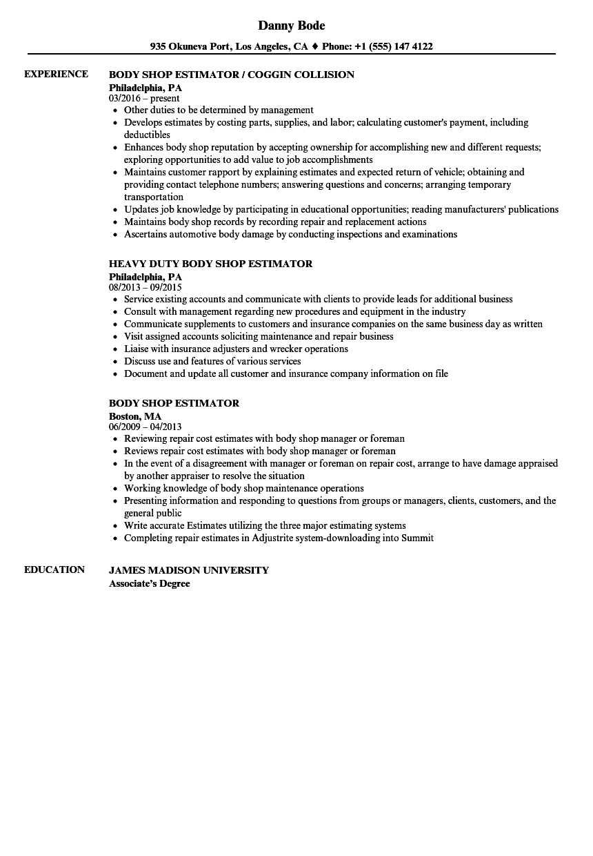 Body Shop Estimator Resume Samples | Velvet Jobs