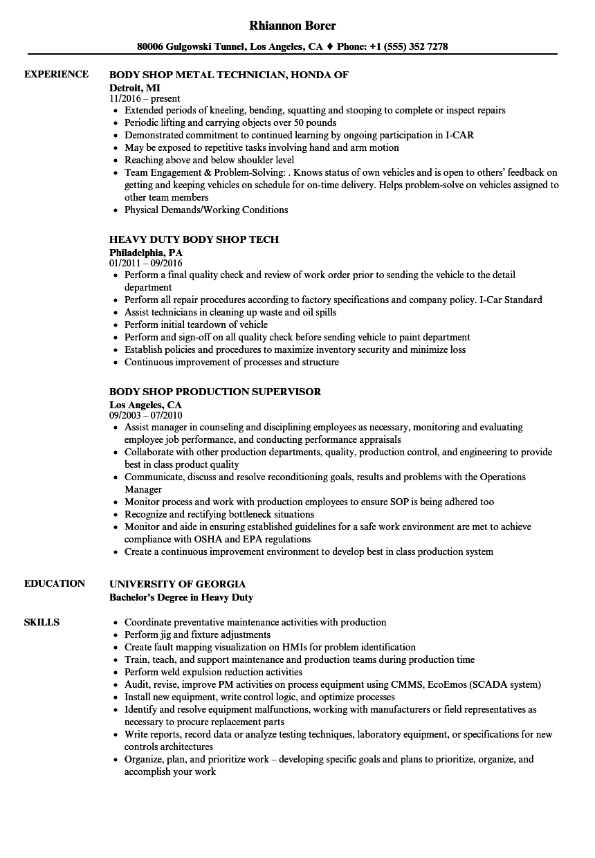 Body Shop Resume Samples | Velvet Jobs