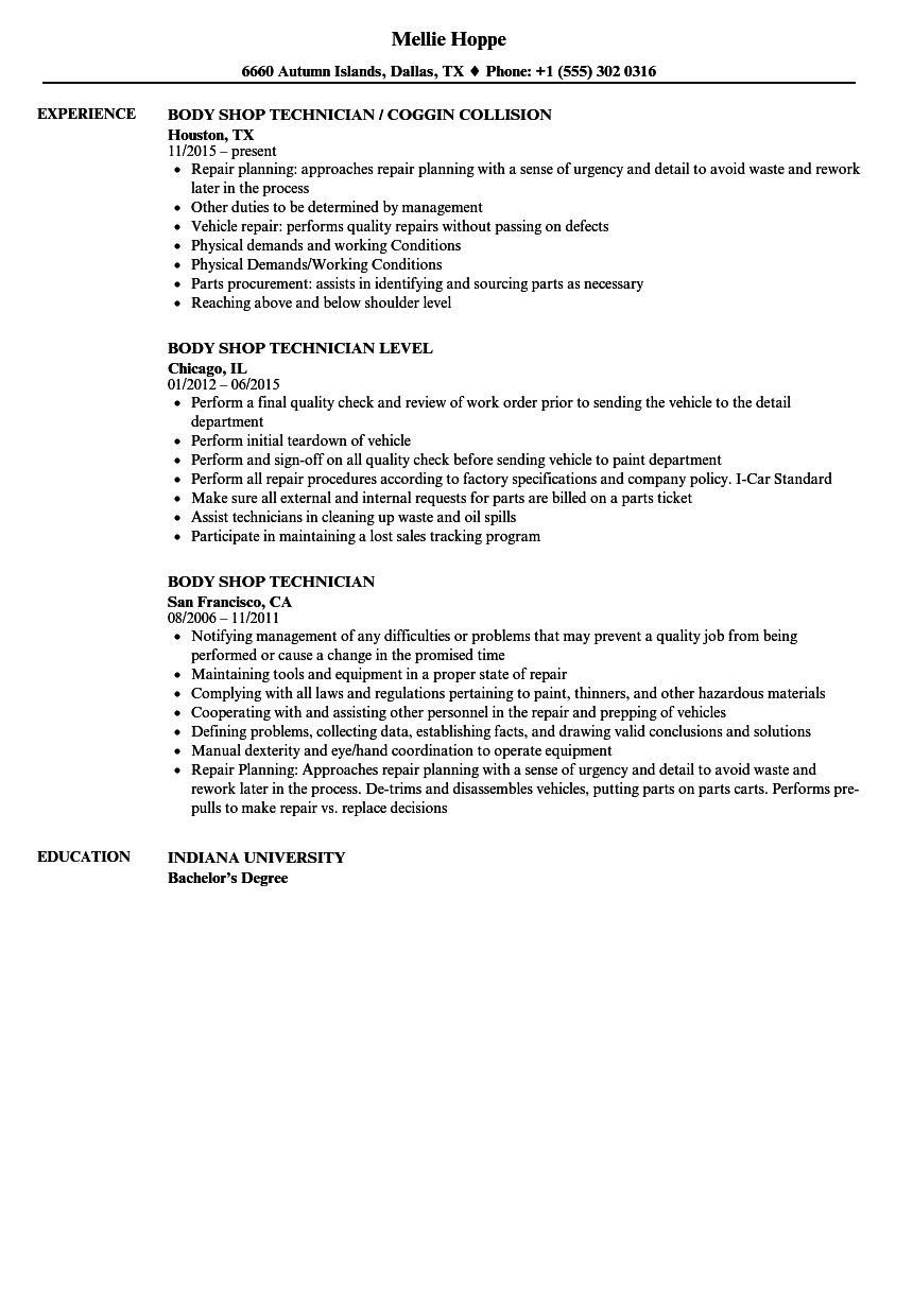 Download Body Shop Technician Resume Sample As Image File
