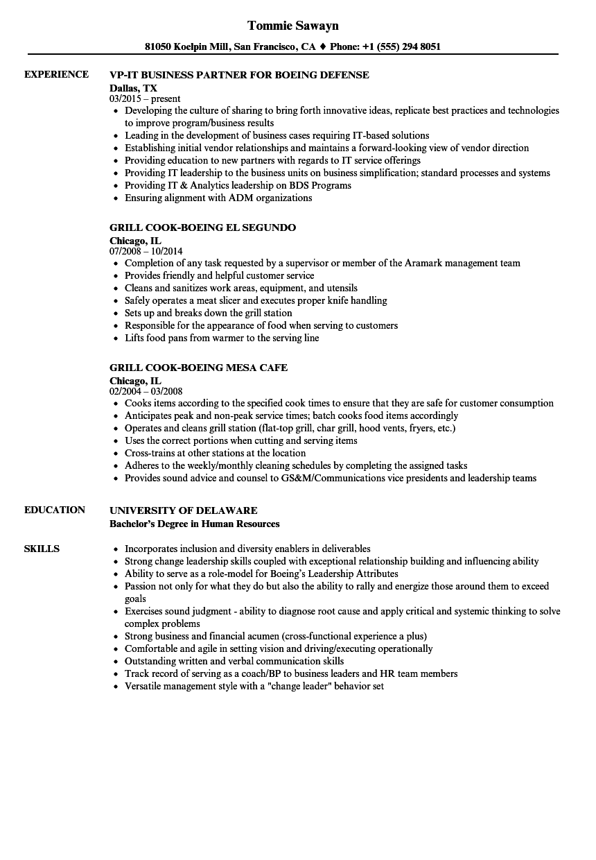 boeing resume samples