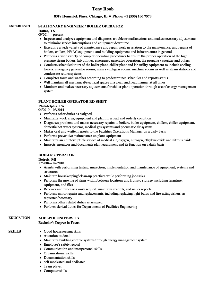 Boiler Operator Resume Samples | Velvet Jobs