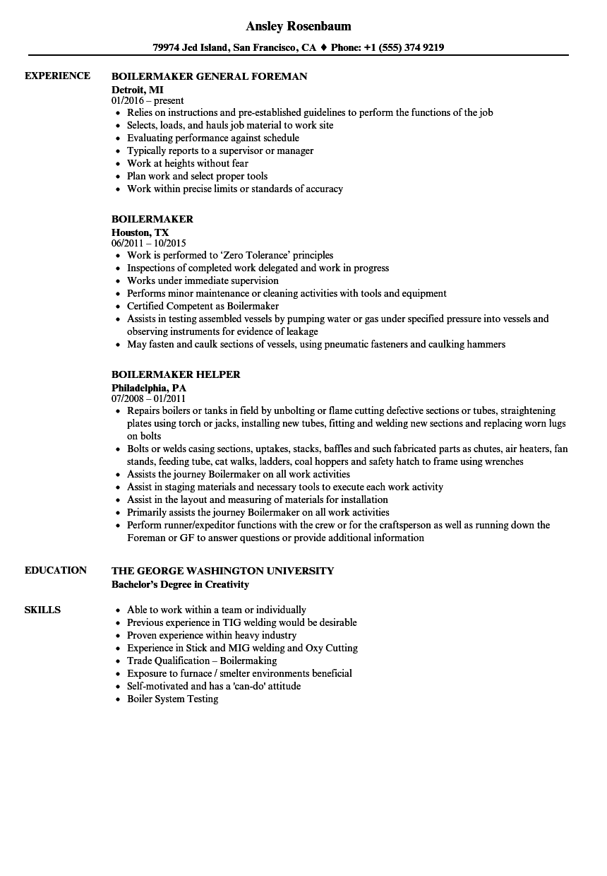 boilermaker resume samples velvet jobs