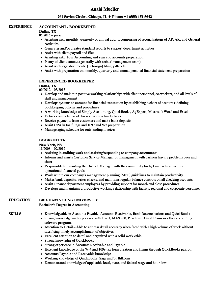 Bookkeeper Resume Samples | Velvet Jobs