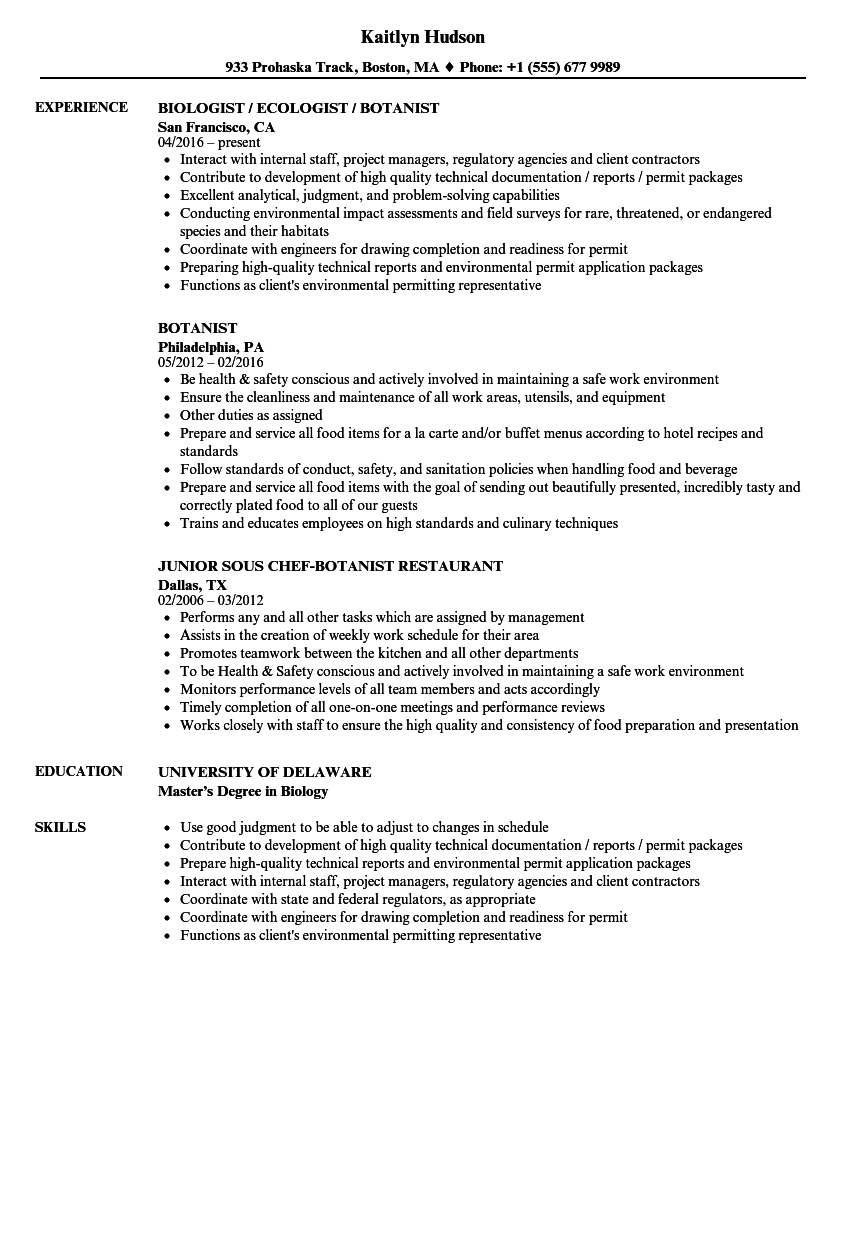 botanist resume samples