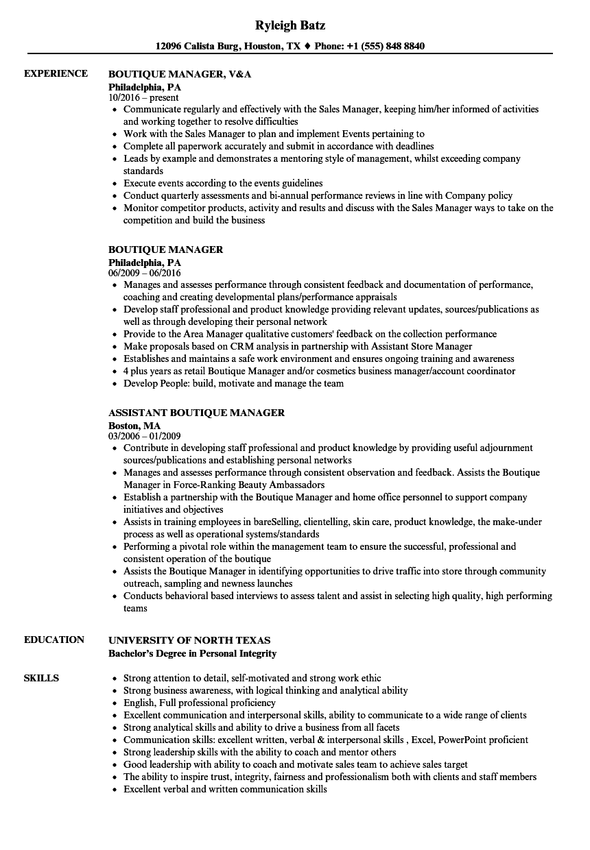 Boutique Manager Resume Samples | Velvet Jobs