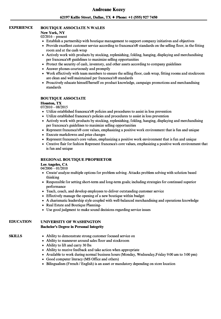 boutique resume samples velvet jobs