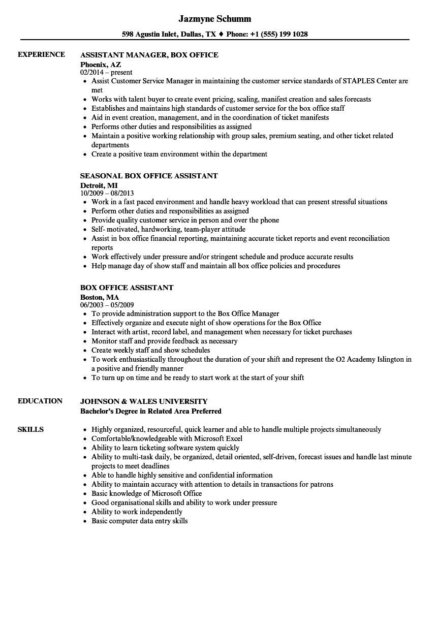 Box Office Assistant Resume Samples | Velvet Jobs