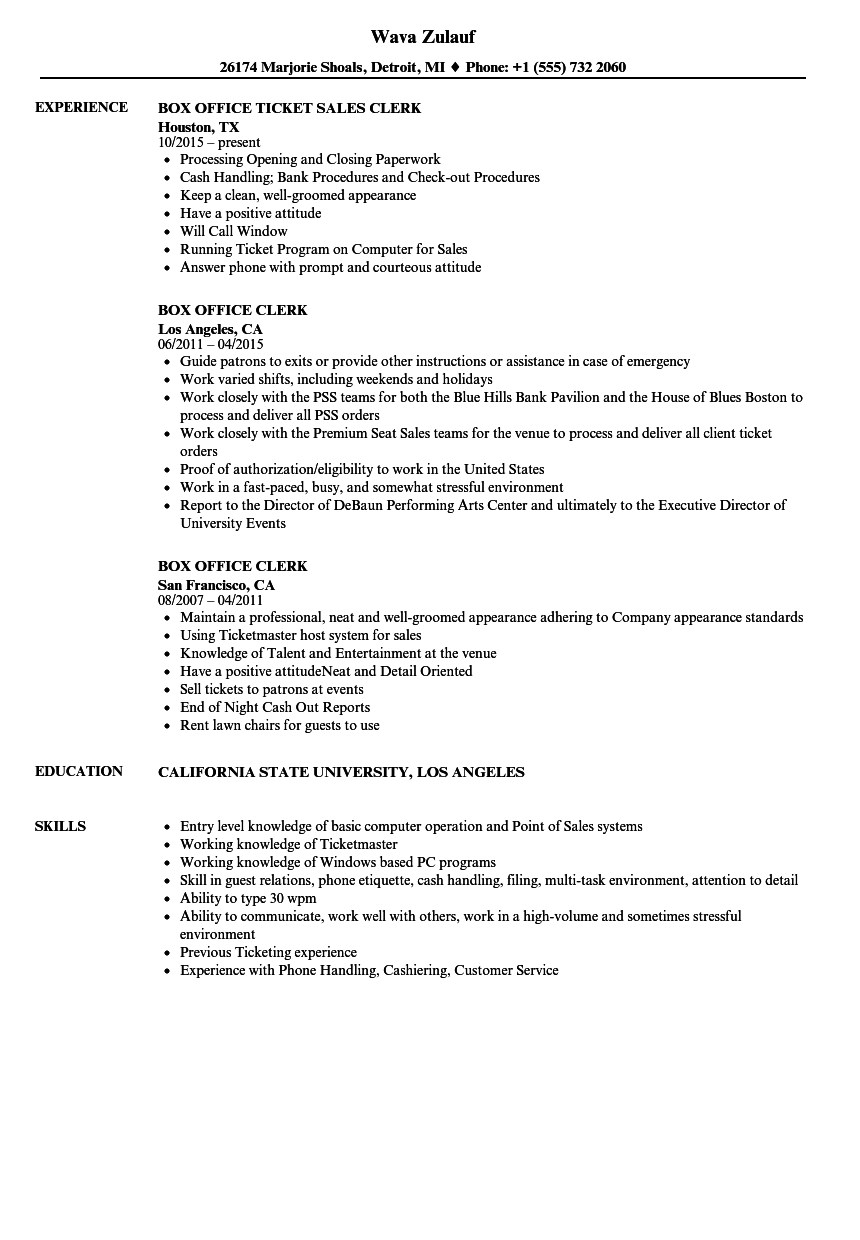 download box office clerk resume sample as image file - Resume Sample For Admin Clerk