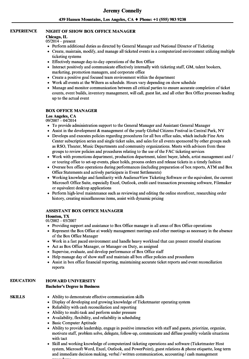 Box Office Manager Resume Samples | Velvet Jobs