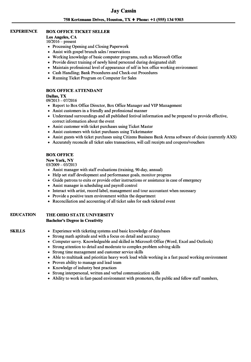 box office resume samples