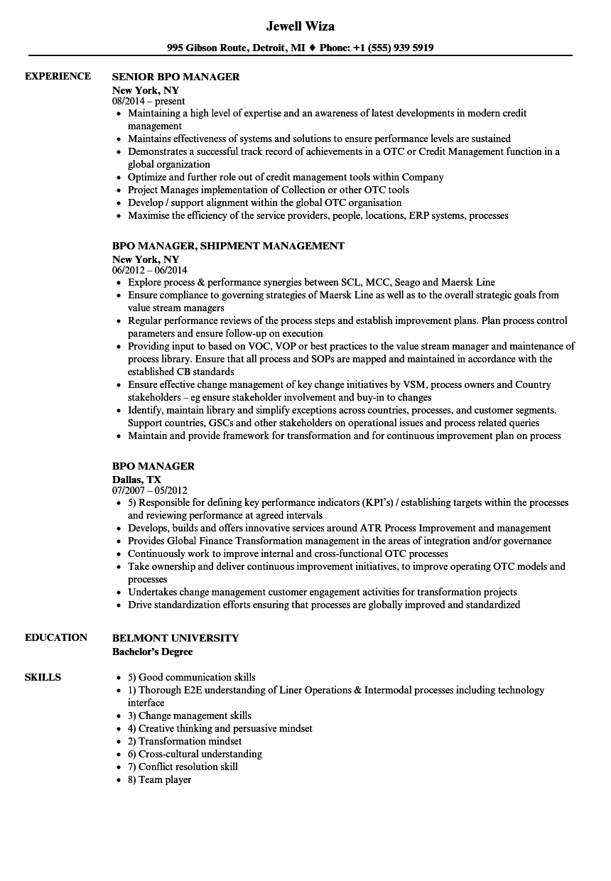 Bpo Manager Resume Samples | Velvet Jobs