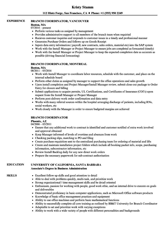 Download Branch Coordinator Resume Sample As Image File