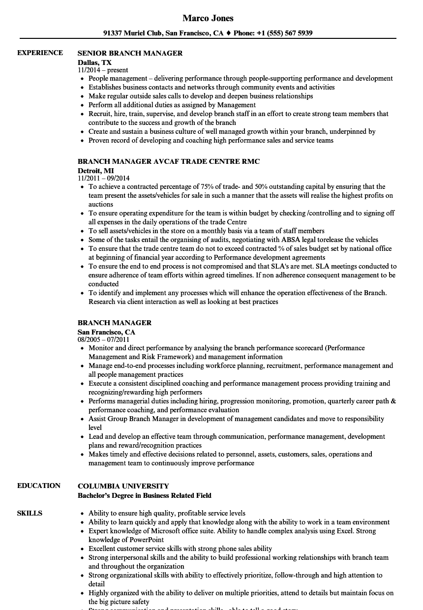 Branch Manager Resume Samples | Velvet Jobs