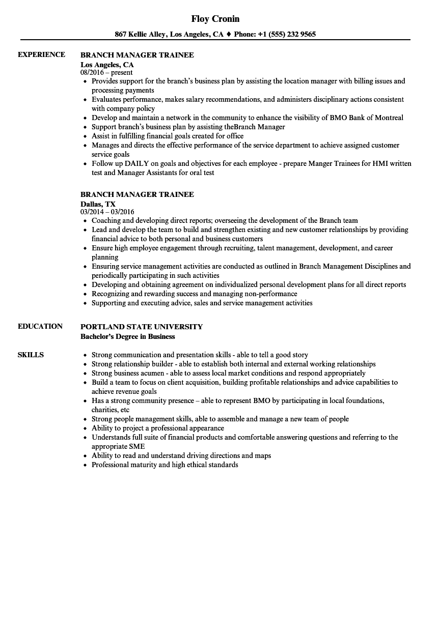 branch manager trainee resume samples